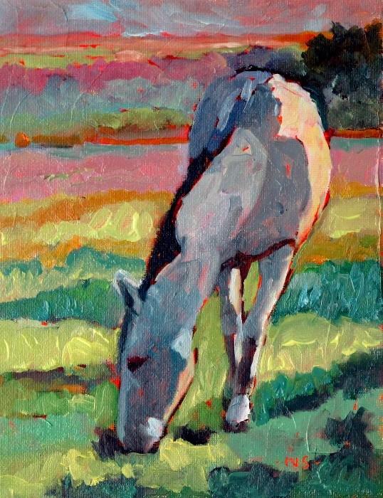 """""""Horsing Around Challenge SOLD"""" original fine art by Nancy Standlee"""