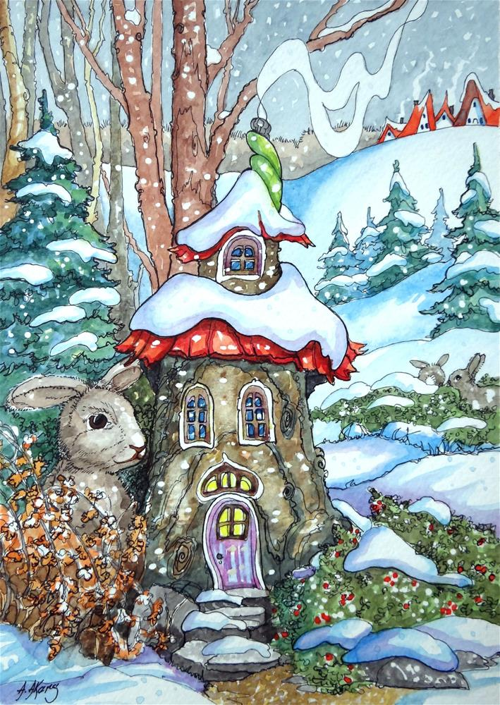 """""""Tree Stumps can be Cozy Storybook Cottage Series"""" original fine art by Alida Akers"""
