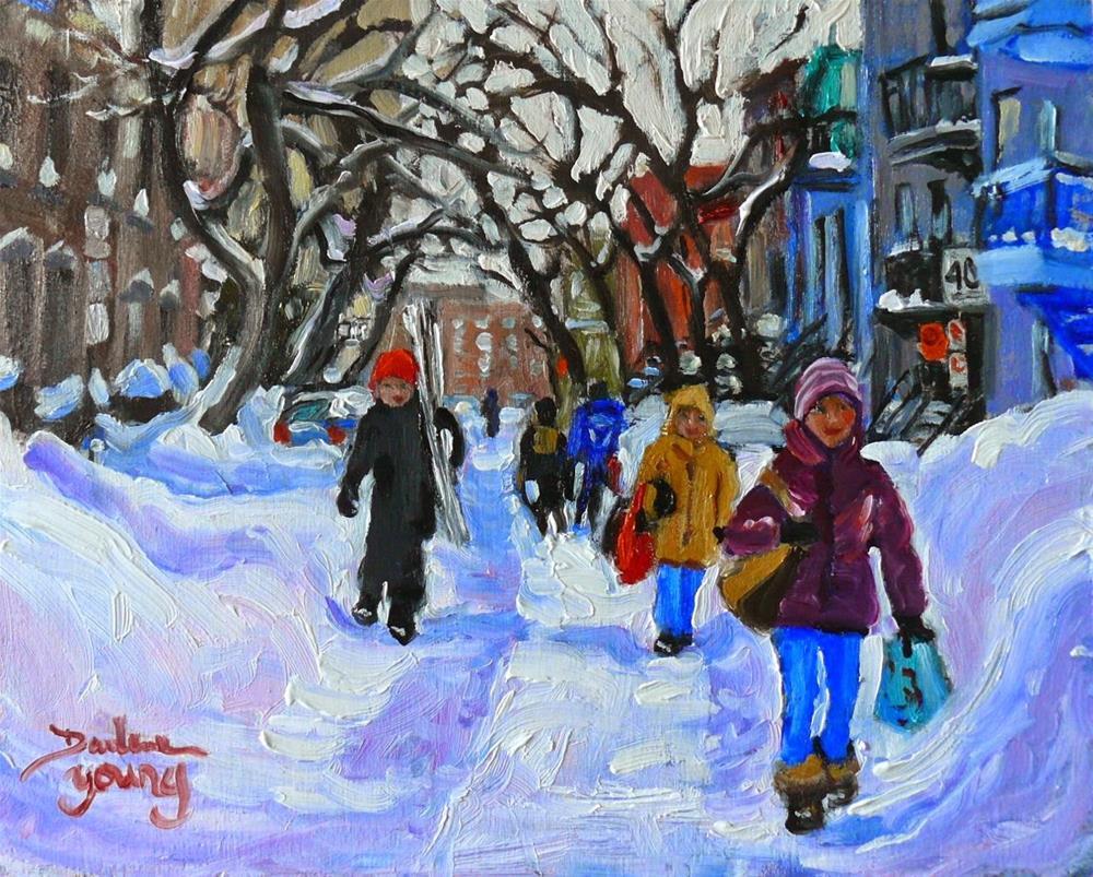 """817 Montreal Winter Scene, Near UQUAM,8x10, oil"" original fine art by Darlene Young"