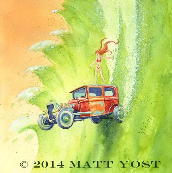 """The Super Sedan"" original fine art by Matt Yost"