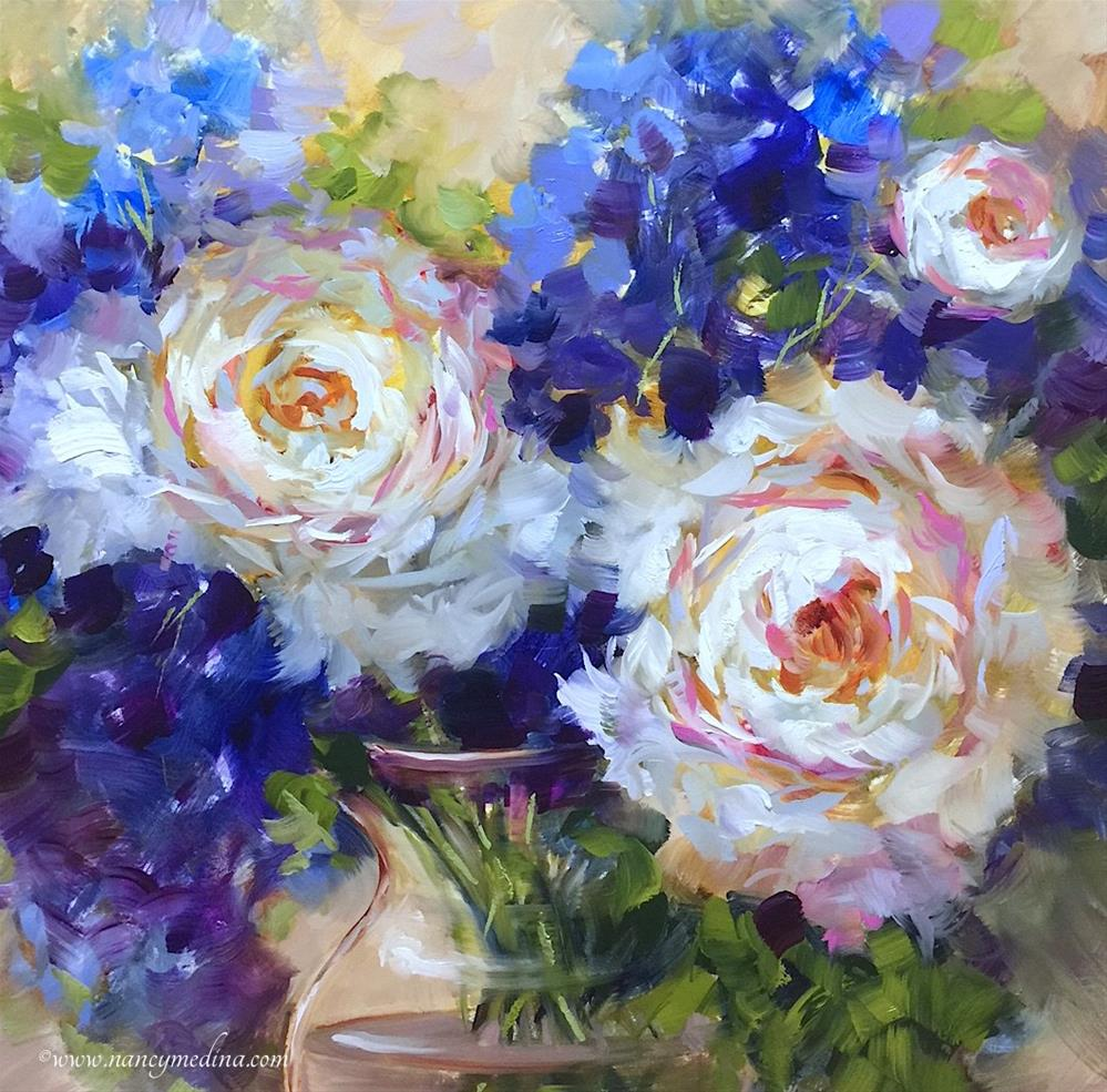 """""""Peonies and Delphs Adrift and Paint With Me Online"""" original fine art by Nancy Medina"""