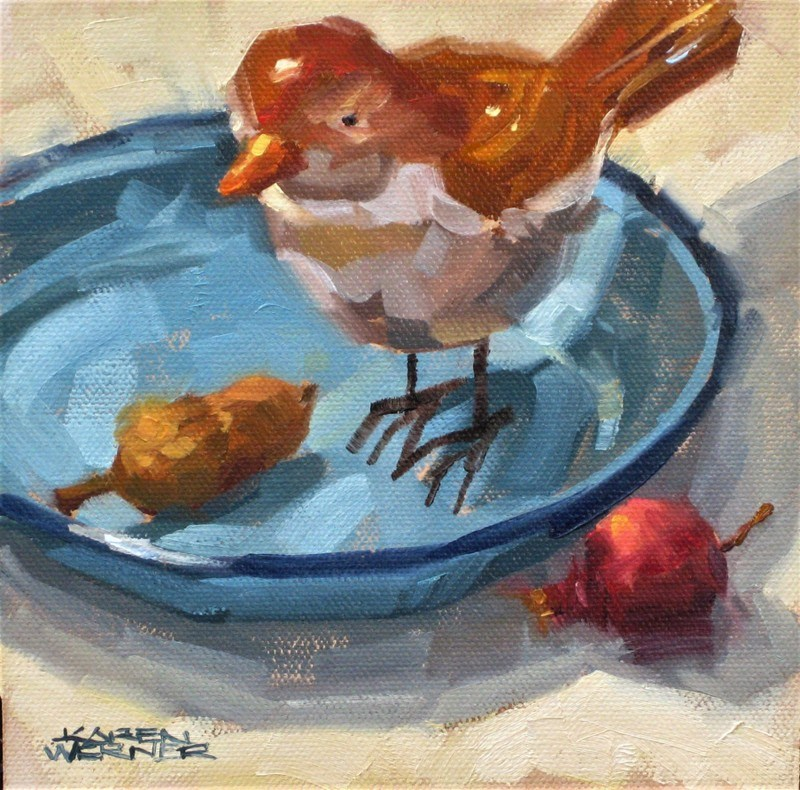 """Blue Bowl Bird"" original fine art by Karen Werner"