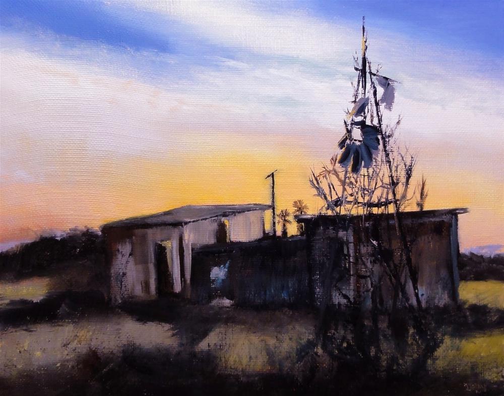 """Sunset For The Windmill"" original fine art by Dalan Wells"