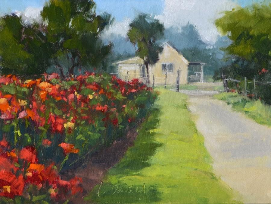 """Row of Zinnias - finally, a plein air day!"" original fine art by Laurel Daniel"