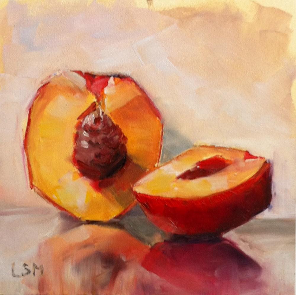 """""""Nectarine Sliced"""" original fine art by Linda Marino"""
