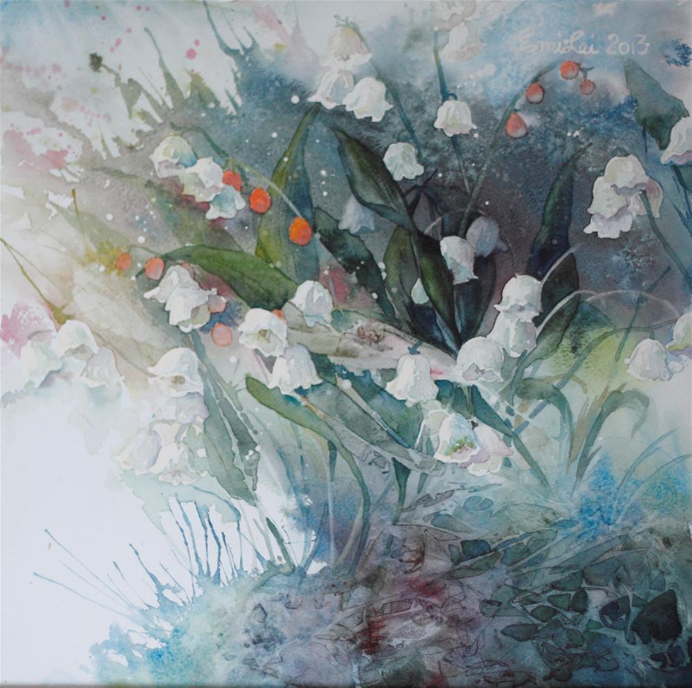 """Lilies of the Valley"" original fine art by Emilia Leinonen"