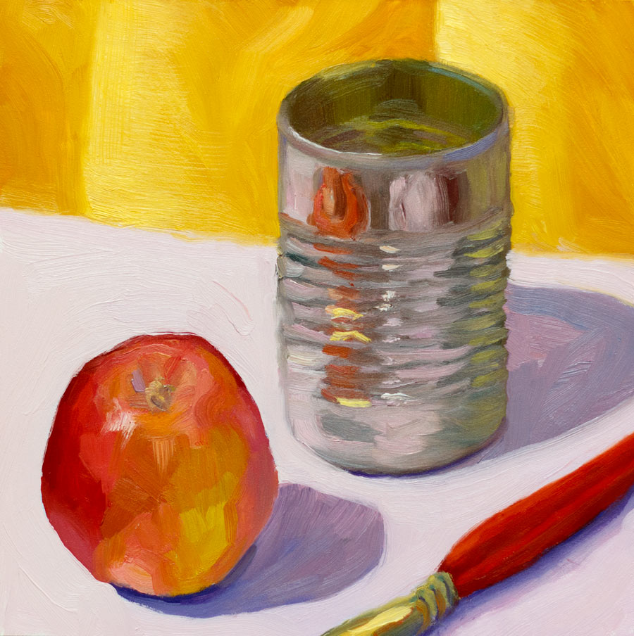 """Apple, Can, Brush"" original fine art by Jana Bouc"
