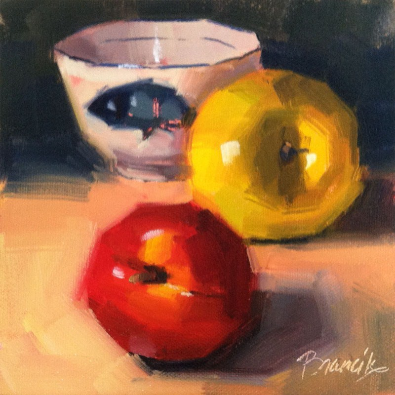 """Nectarine, Apple & Fish Bowl"" original fine art by Candace Brancik"