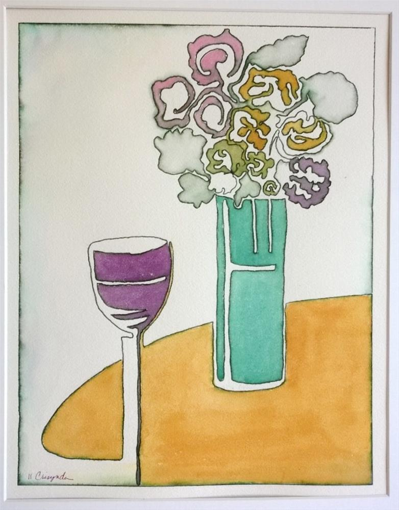 """Wine and Flowers (2 lines)"" original fine art by Crisynda Buss"