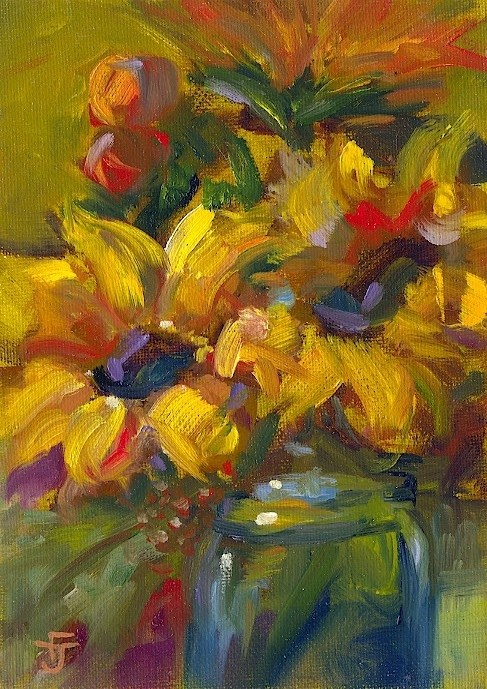 """Fancy Some Sunflowers Today"" original fine art by Francine Dufour~Jones"