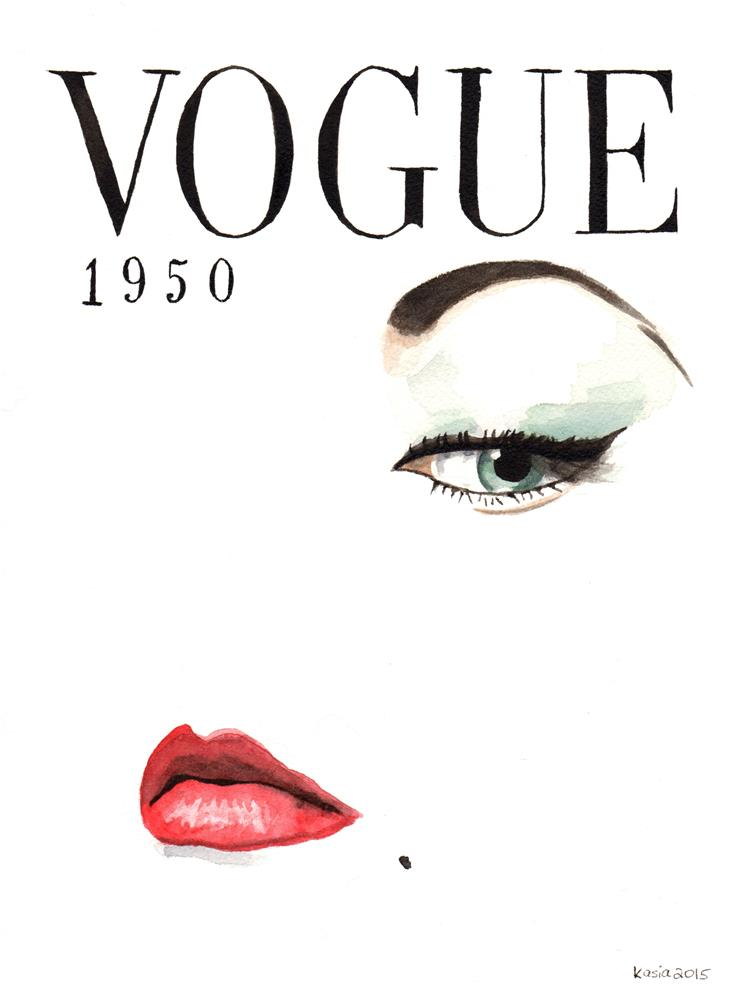 """1950 Vintage Vogue Magazine Cover"" original fine art by Kasia Blanchard"