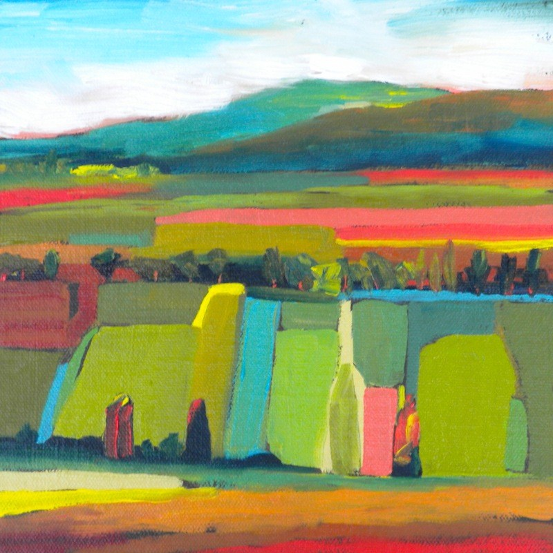 """Patchwork Landscape"" original fine art by Janet Bludau"