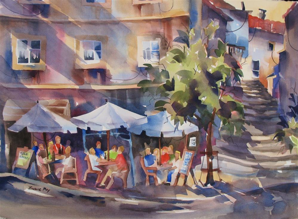 """Enjoying a Vinho Verde"" original fine art by Jinnie May"
