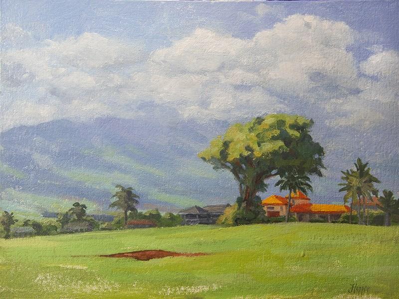 """Maui Country Club View"" original fine art by Joanne Hopper"