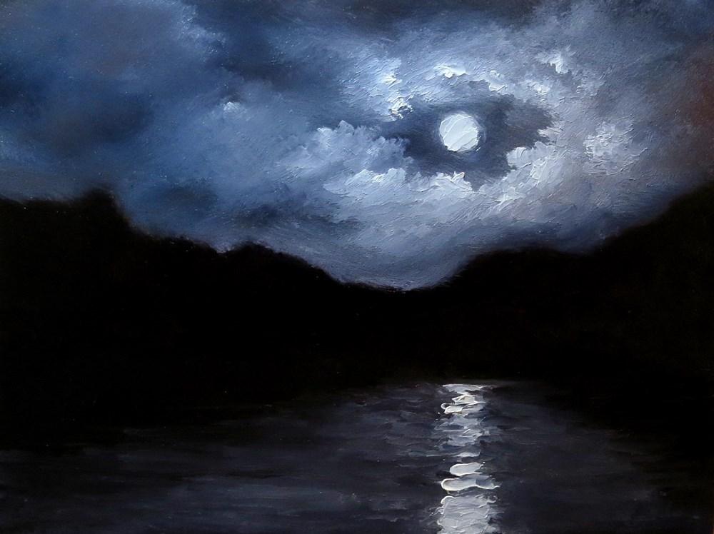 """Moonlit Bay"" original fine art by Bob Kimball"