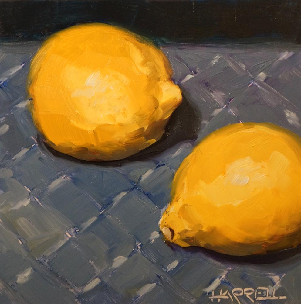 """""""Two Lemons"""" original fine art by Sue Harrell"""