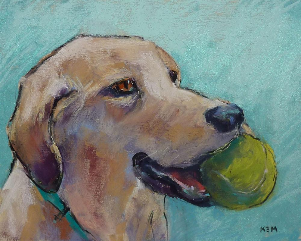 """""""The Benefits of a Dog in the Studio"""" original fine art by Karen Margulis"""