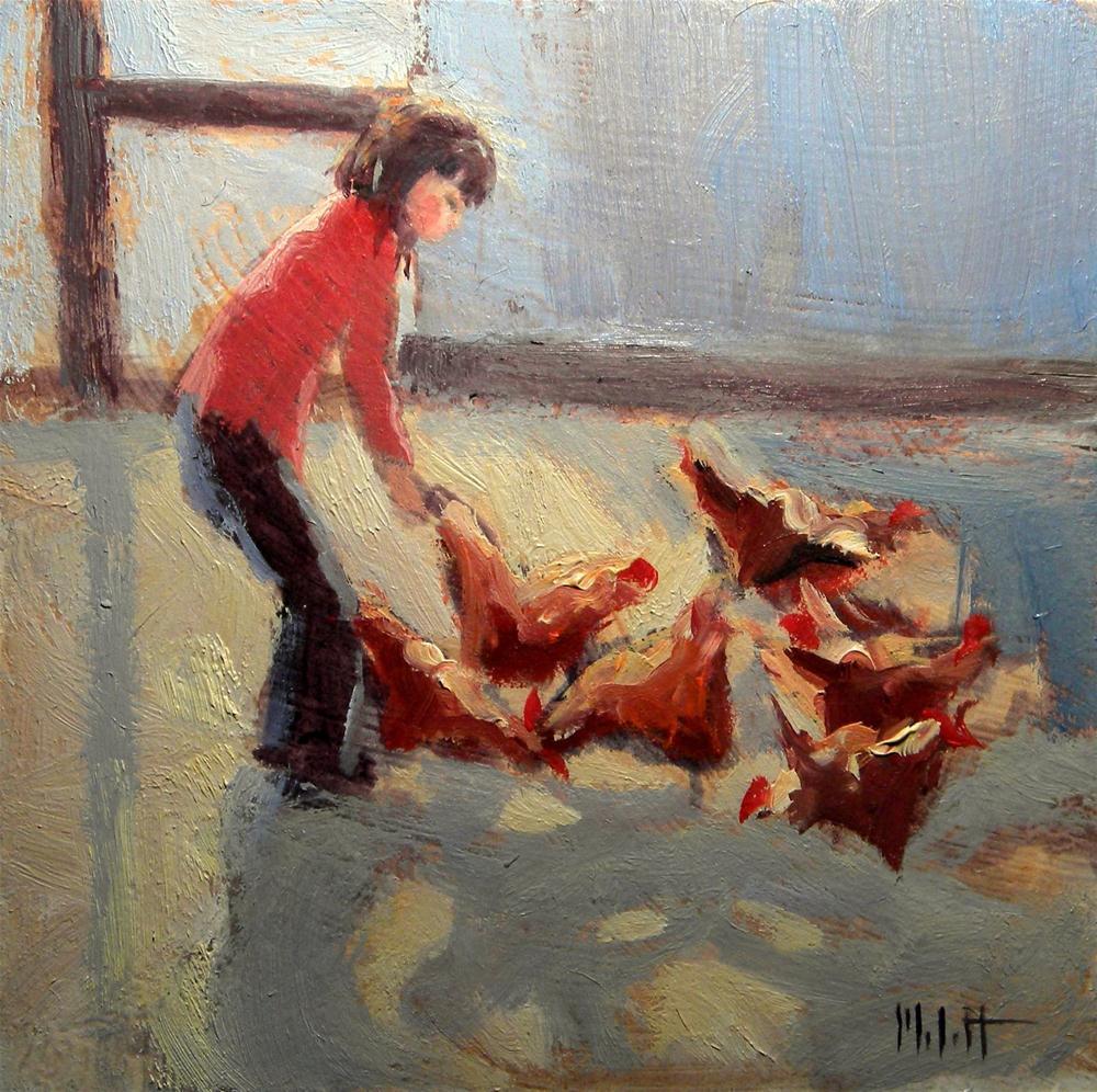 """Chicken Painting Figure Girl Oil Painting"" original fine art by Heidi Malott"