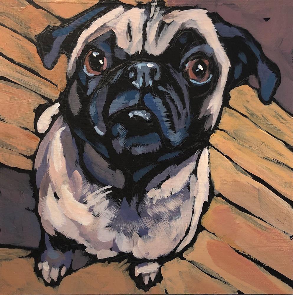 """Pug View #7"" original fine art by Kat Corrigan"
