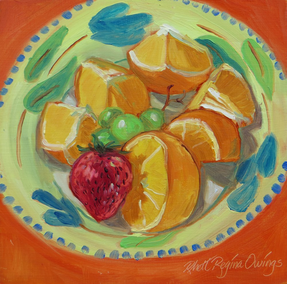 """Orange Wreath"" original fine art by Rhett Regina Owings"