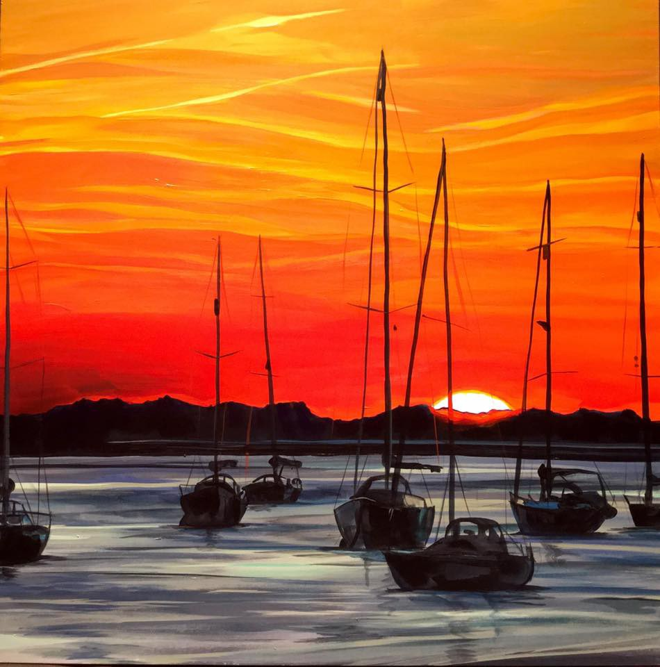 """Chichester (UK) Sunset"" original fine art by Lauren Kuhn"