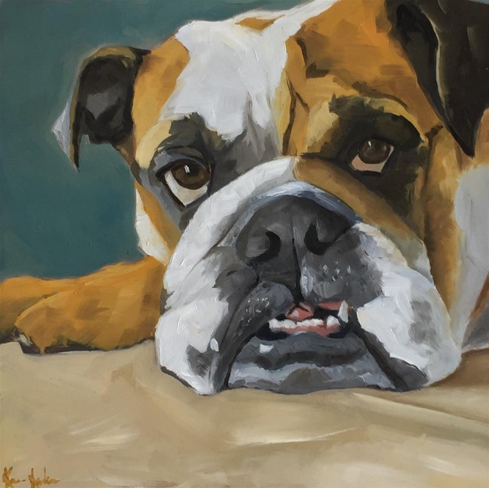 """Bulldog grump!"" original fine art by Karen Laken"
