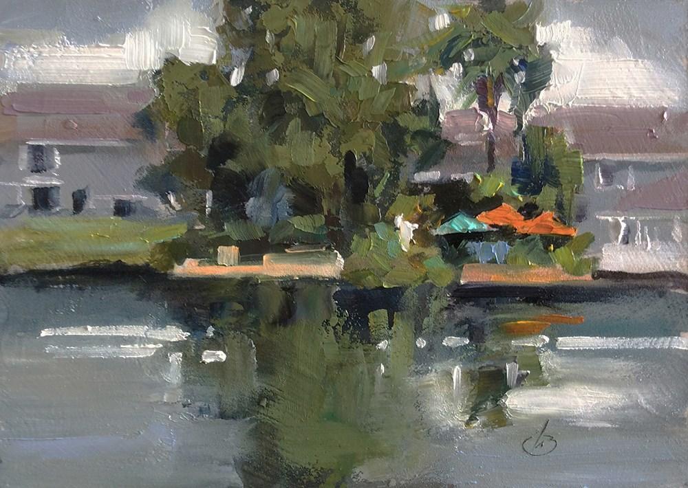 """LAKE HOUSE"" original fine art by Tom Brown"