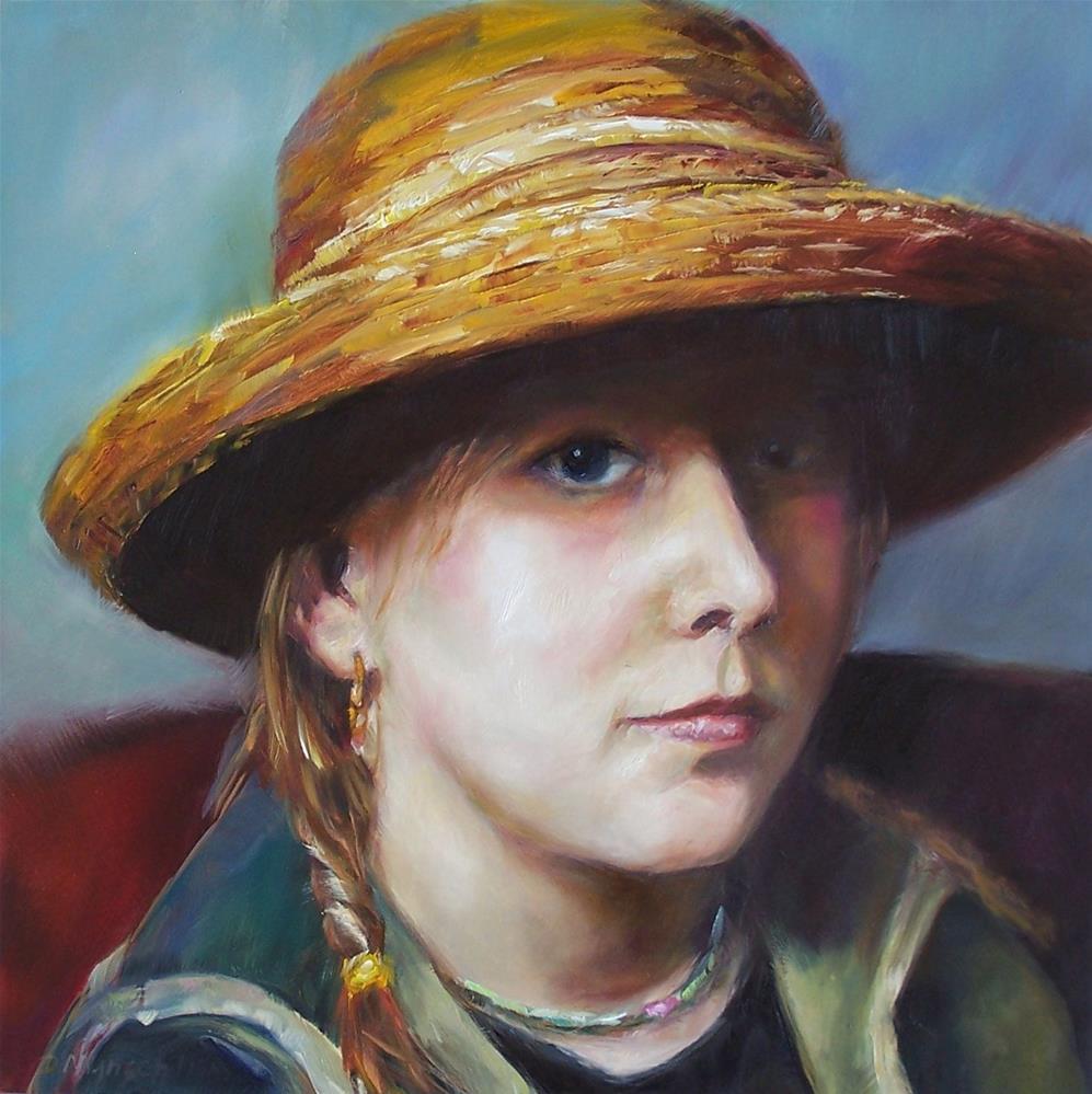 """""""Girl in a Straw Hat"""" original fine art by Donna Munsch"""