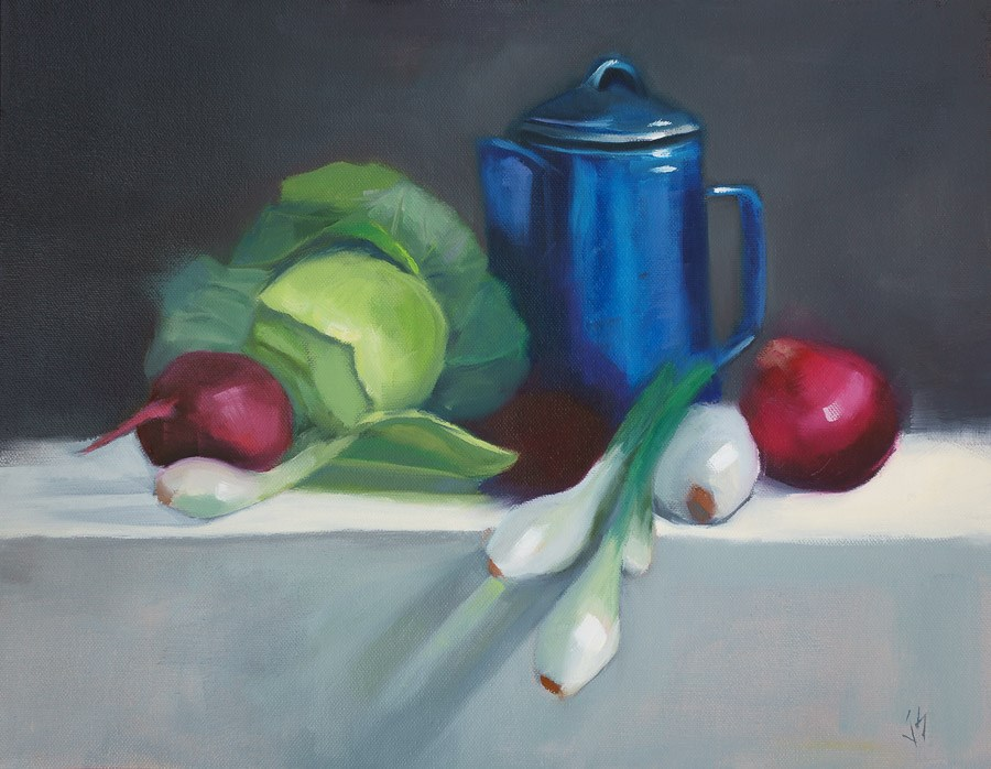 """""""Blue Graniteware with Cabbage and Onions (14x18)"""" original fine art by Johnna Schelling"""