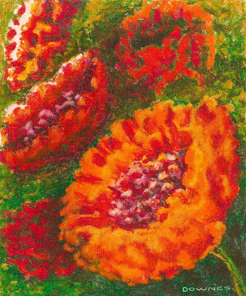 """133 FLOWERS STYLISED 7"" original fine art by Trevor Downes"