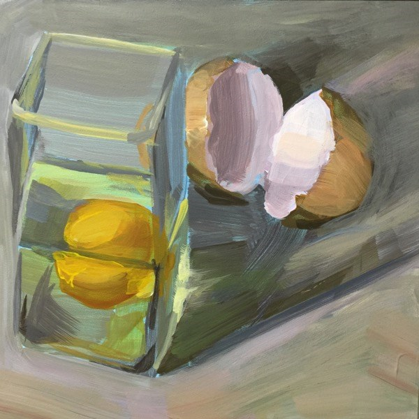 """""""Round Egg In a Square Glass"""" original fine art by Mary Pargas"""