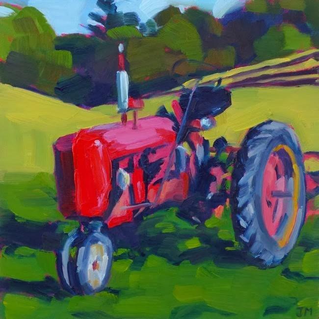 """Red Tractor"" original fine art by Jessica Miller"