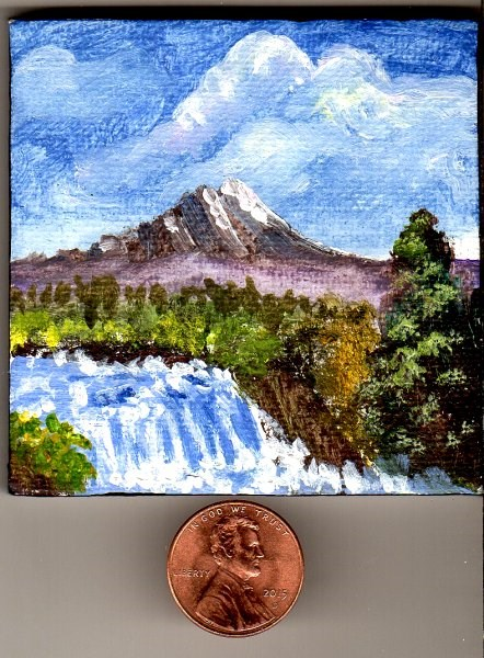 """""""Mini Gem 2 with Easel In the Manner of Bob Ross"""" original fine art by Patricia Ann Rizzo"""
