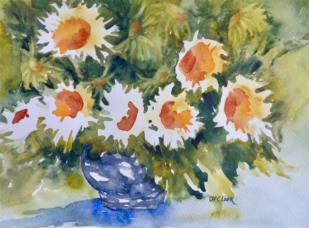 """Silver Bowl with Daisies"" original fine art by Judith Freeman Clark"