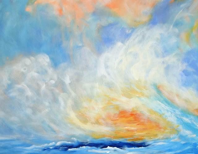 """Contemporary Abstract Seascape Painting Confined Escape by Contemporary International Artist Arrac"" original fine art by Arrachme Art"