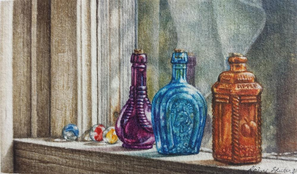 """Coloured Glass"" original fine art by Elaine Guitar van Loo"