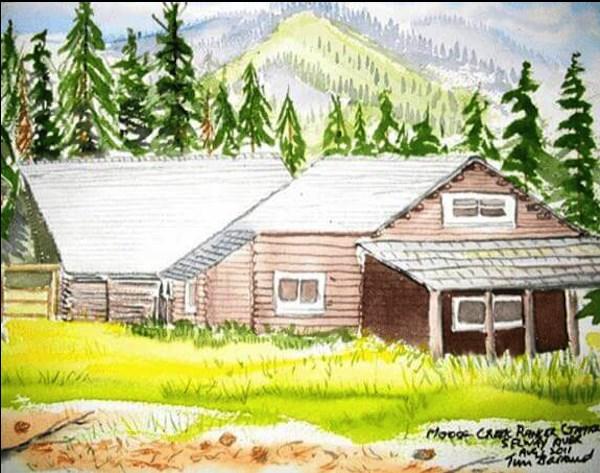 """Selway River, Ranger Station, MT"" original fine art by Tim Barraud"