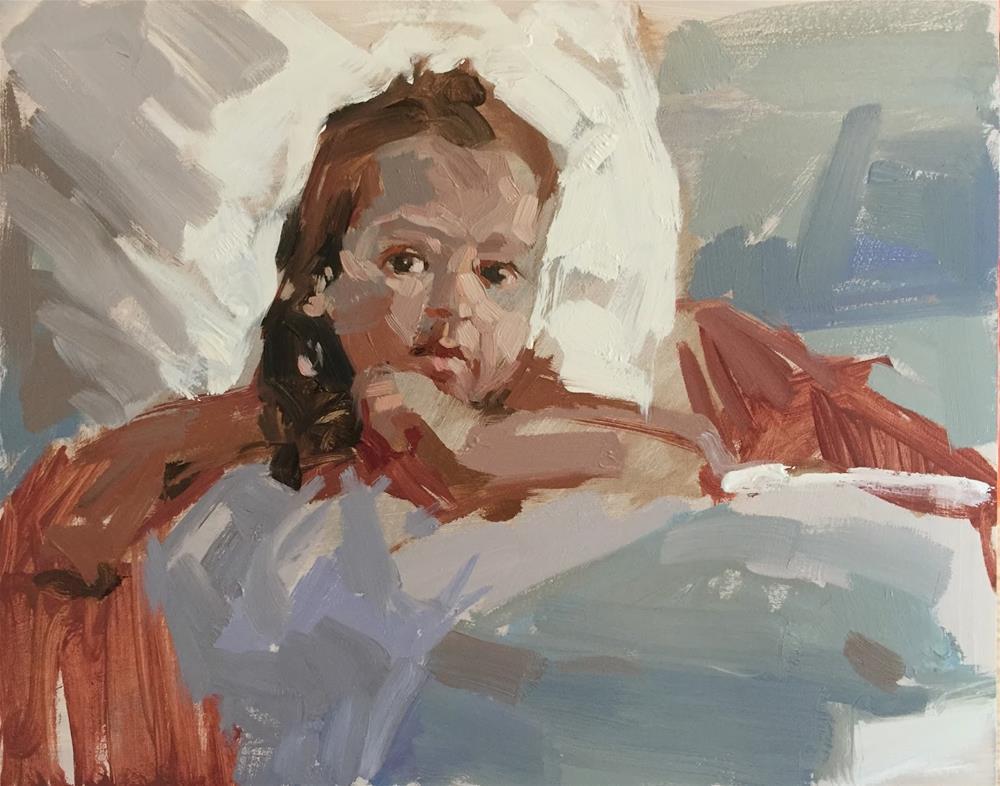 """Little girl in an armchair"" original fine art by Haidee-Jo Summers ROI"