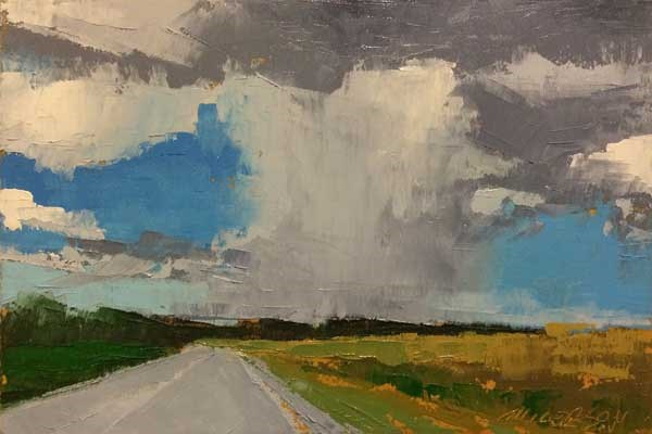 """""""Late Summer Fields with Rain"""" original fine art by Mary Gilkerson"""