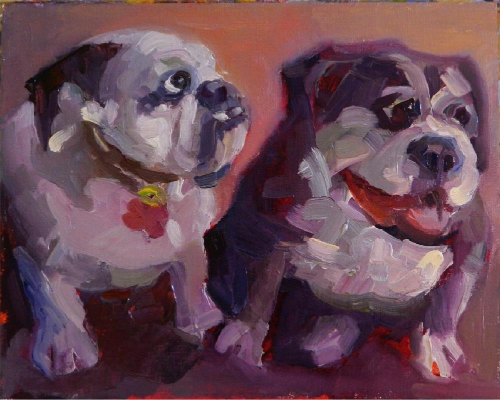 """Who Let the Dogs out?, 8x10 , oil painting, Maryanne JAcobsen art, paintings of dogs, pugs, bull dog"" original fine art by Maryanne Jacobsen"