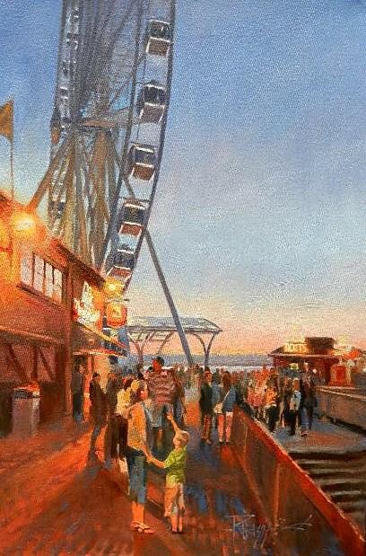"""""""Seattle Wheel Seattle City oil painting by Robin Weiss"""" original fine art by Robin Weiss"""