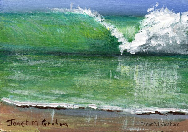 """The Wave ACEO"" original fine art by Janet Graham"
