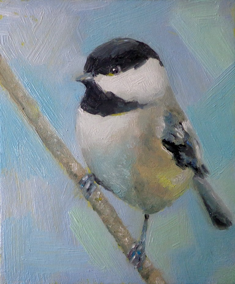 """Chickadee"" original fine art by Maria Z."