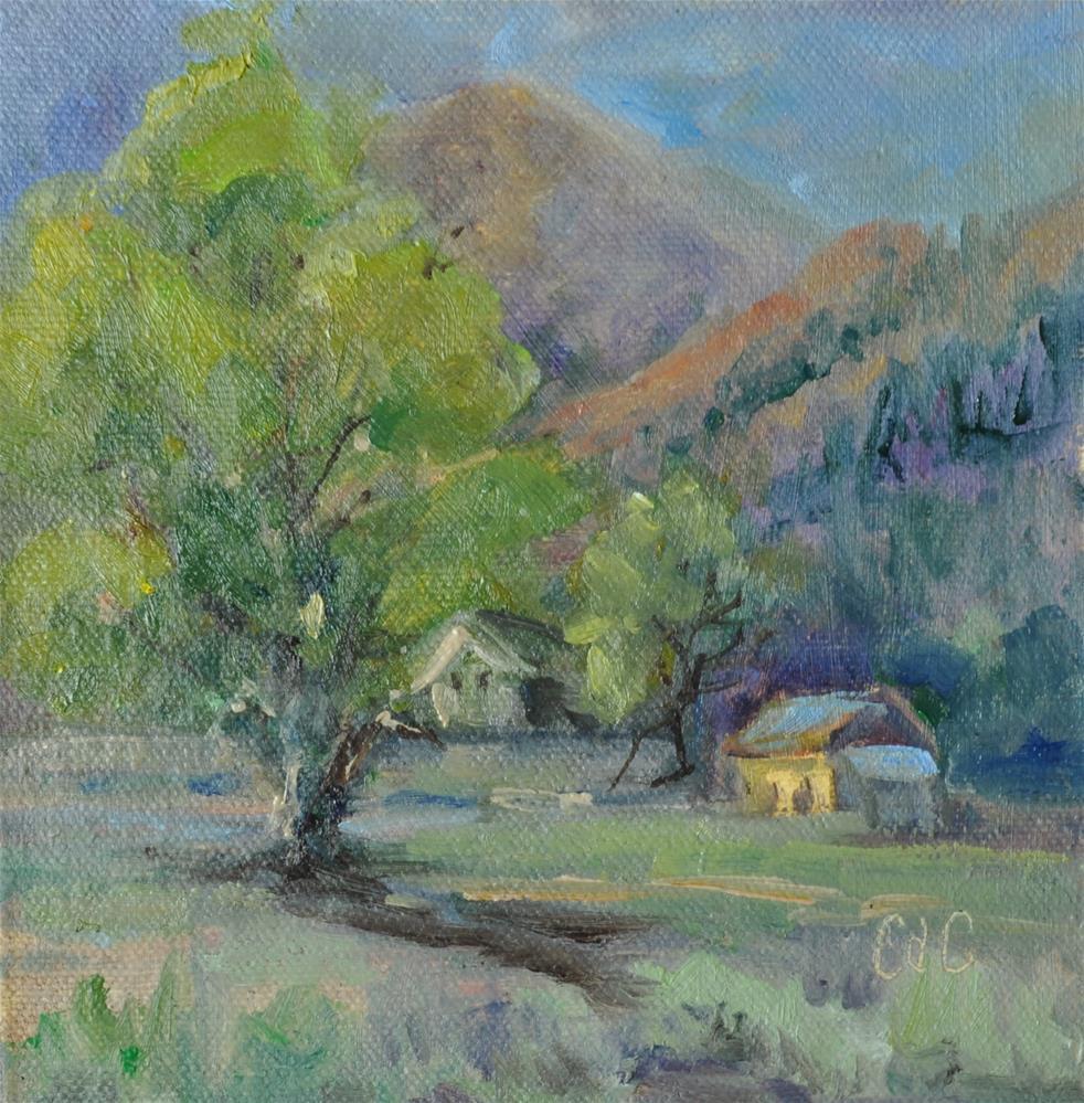 """Cabin in Morning"" original fine art by Catherine Crookston"