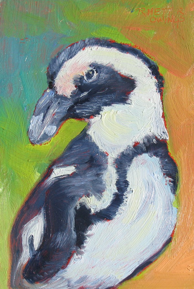 """Penquin"" original fine art by Rhett Regina Owings"