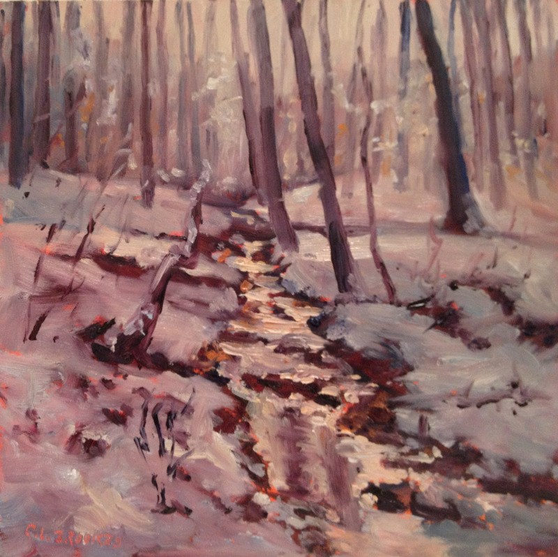 """""""Ice Storm Morning, Day 64"""" original fine art by Claudia L Brookes"""