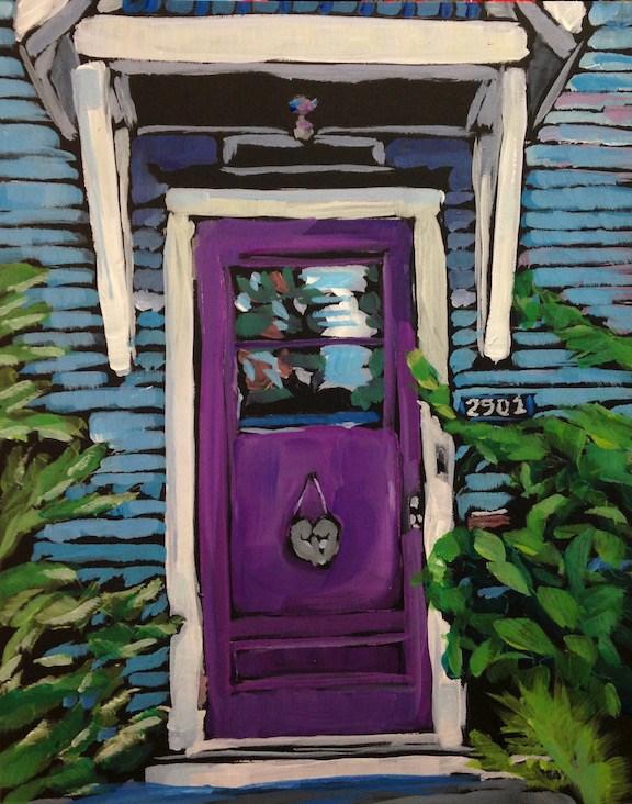"""""""Nov 9, The Purple Door"""" original fine art by Kat Corrigan"""