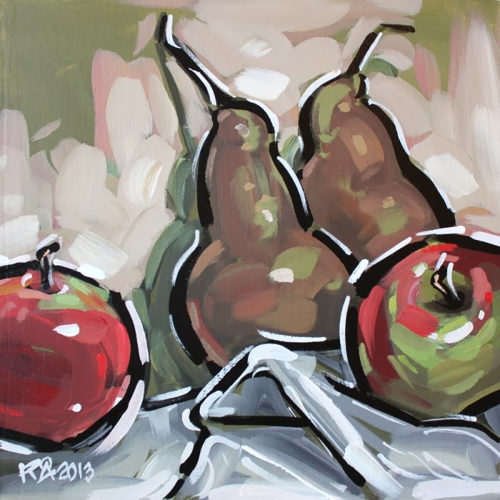 """Apples and pears 4"" original fine art by Roger Akesson"
