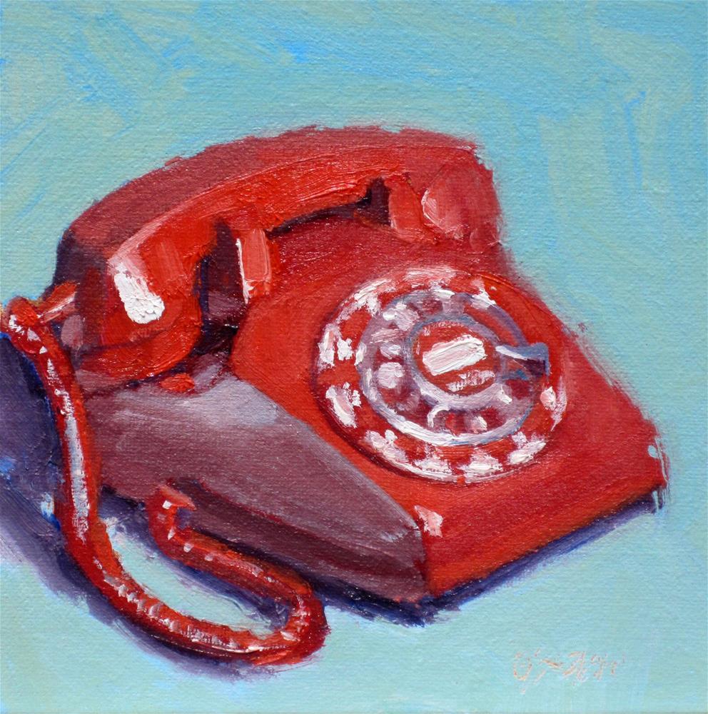 """""""red telephone"""" original fine art by Dan Graziano"""