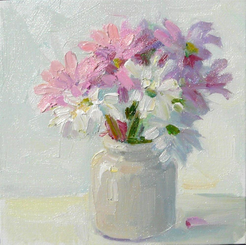 """Dasies in Mustard Jar,still life,oil on canvas,6x6,price$150"" original fine art by Joy Olney"